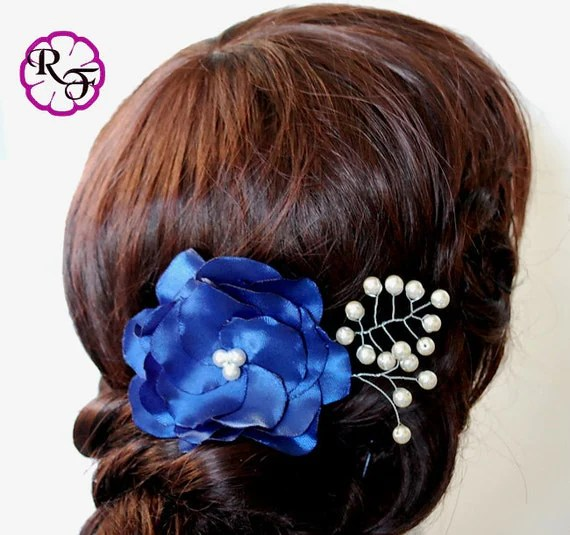 Bridal Hair Accessory Navy Blue Flower Kanzashi