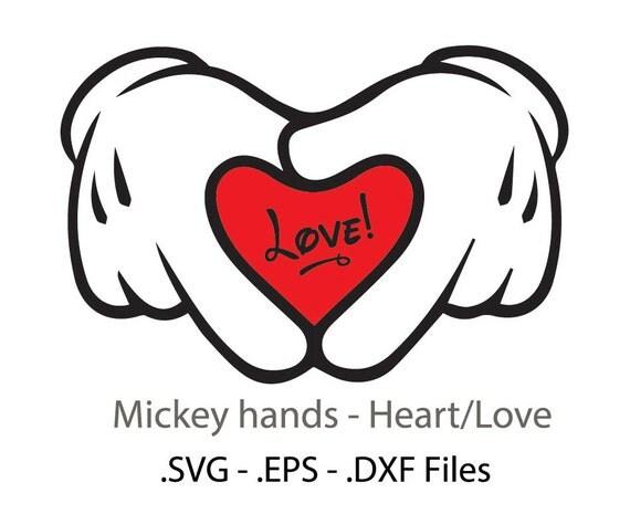 Download Mickey hands/heart design. Vectors cuttable files.