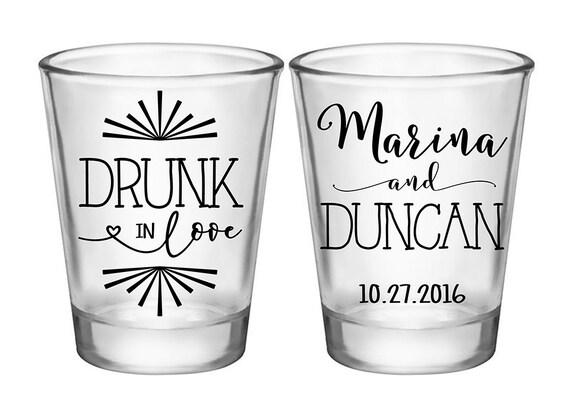 100x Custom Wedding Favors 2 Side Funny Shot Glasses 1.75 Oz