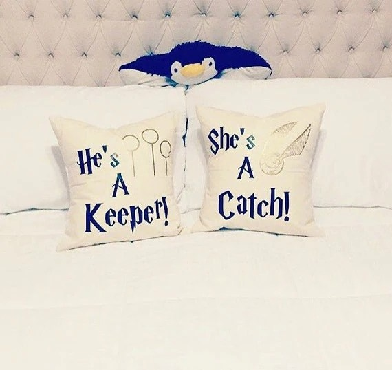 Harry Potter Decorative Pillow Cases -30+ Harry Potter Gift Ideas for the Harry Potter Lover in your life. This gift guide includes clothing, home decor, food and anything else Harry Potter! thekeeledeal.com