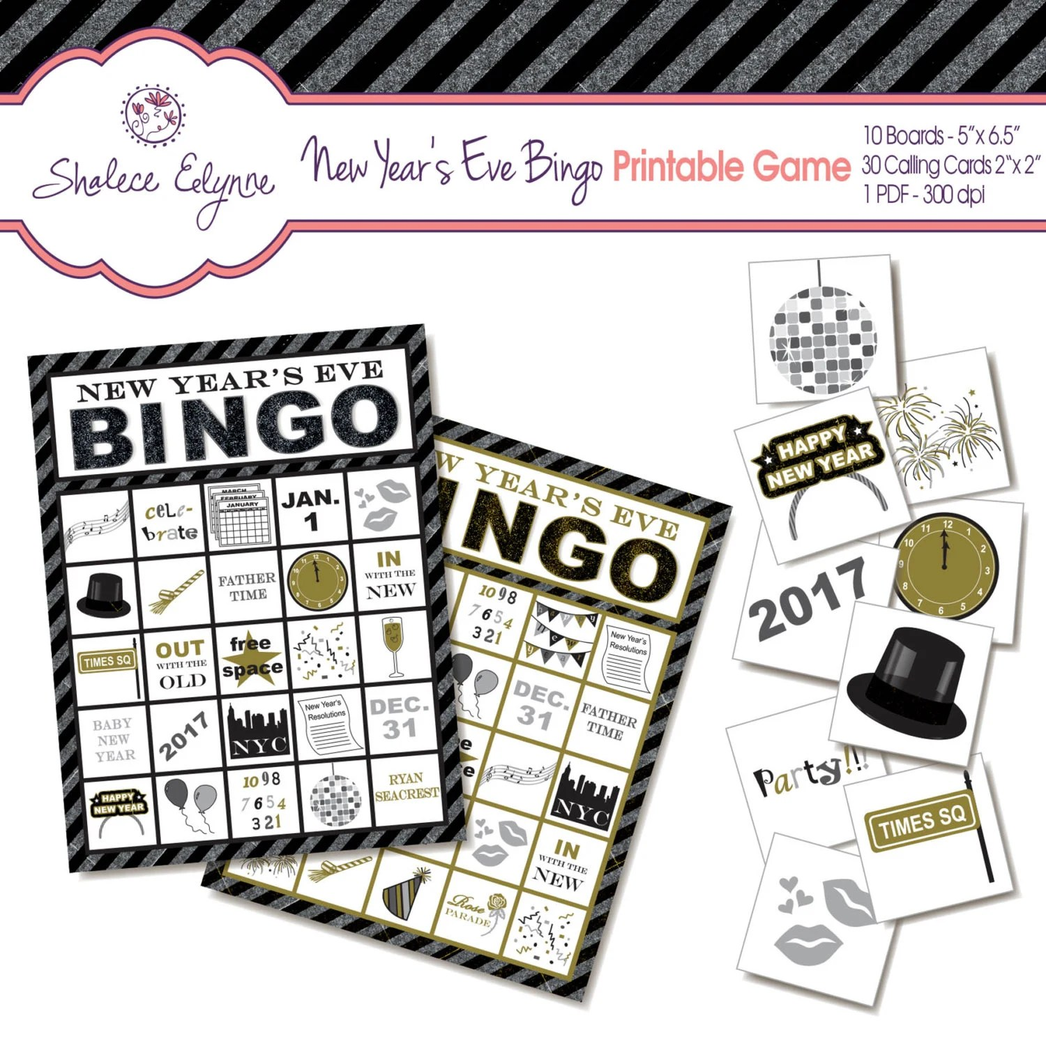New Years Eve Bingo Printable Game Instant By Shaleceelynne