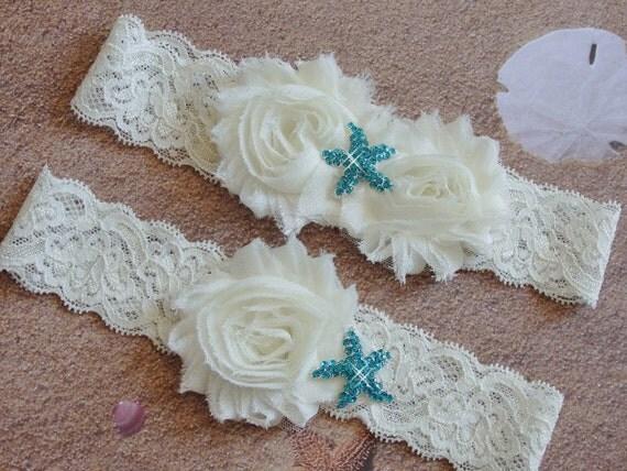 Beach Wedding Garter With Aqua Starfish Ivory Or White Lace