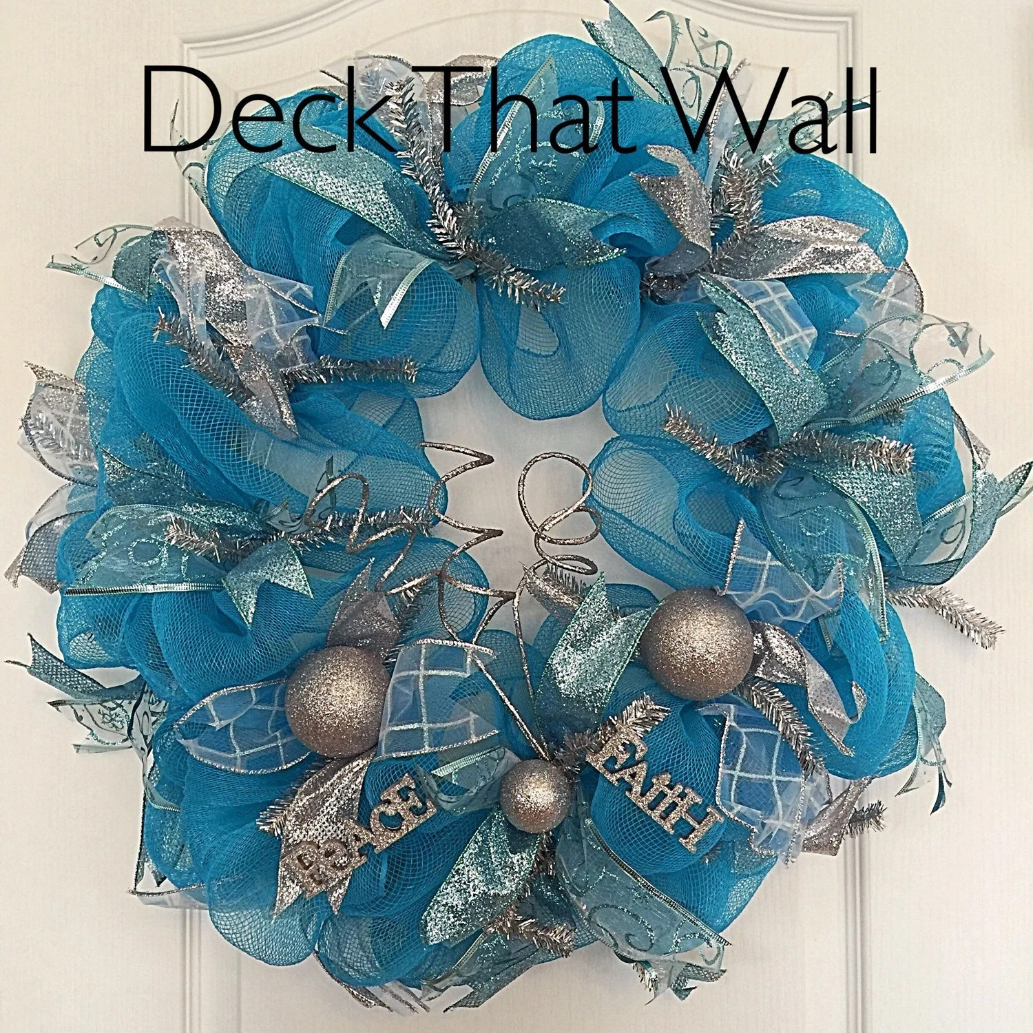 Blue And Silver Christmas Deco Mesh Wreath