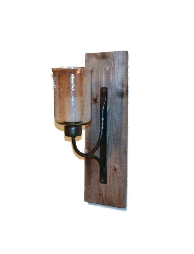 Rustic Wall Sconce Wooden Sconce Rustic Decor by ... on Rustic Wall Sconces id=88195