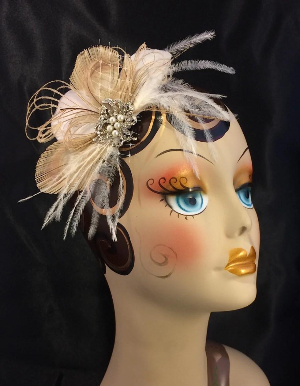 Fascinator, Wedding Head Piece ,Feather Hair Clip, Bridal Comb,Great Gatsby Style,Bridal Hair Accessory,Wedding Hair Clip,Feather Hair Clip