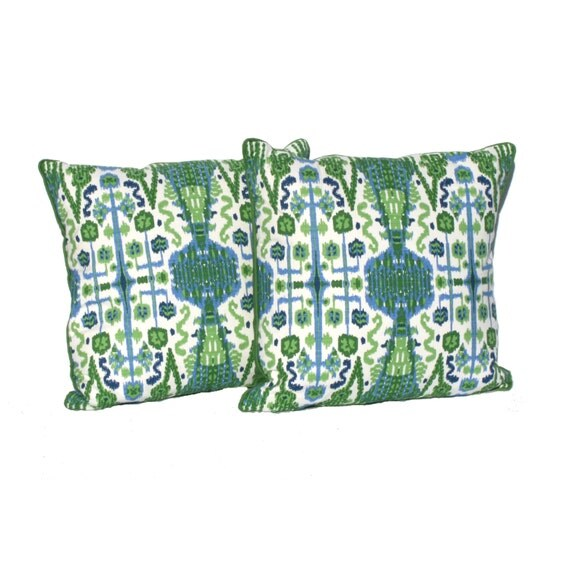 "Decorative Pillow covers Kelly Green, Navy and White Ikat Designer Fabric- 20"" Pillows -Hidden Zipper Closure"
