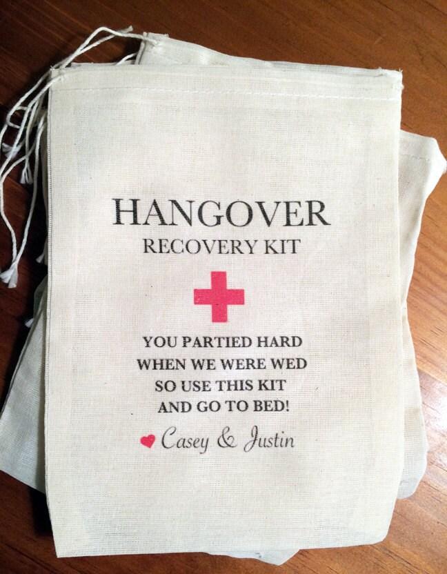 6 Wedding Hangover Bags Kits Personalized Drawstring Bags