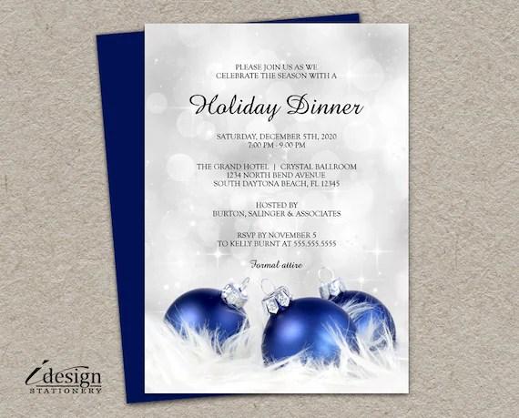 Elegant Holiday Dinner Party Invitation DIY Printable
