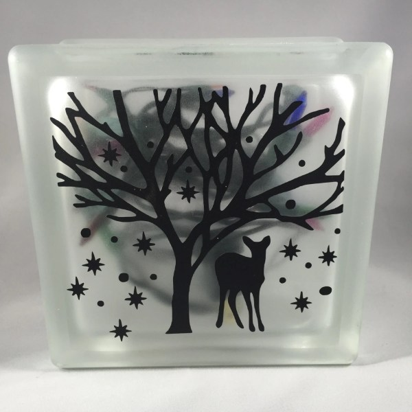 Winter Deer Forest Lighted and Frosted 6x6 or 8x8 by ...