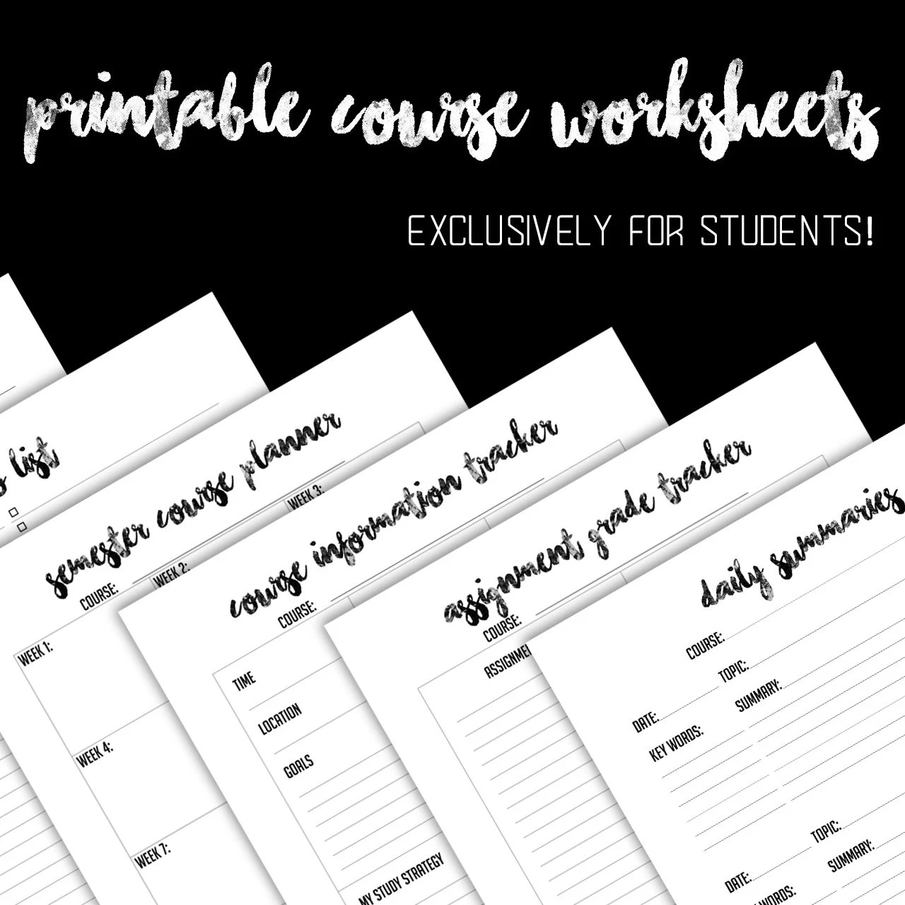 Student Planner 12 Worksheets Only Black And White