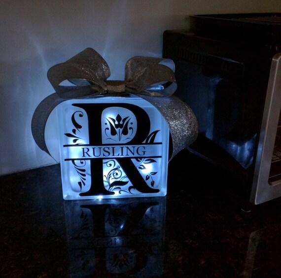 Decorative Lit Frosted Glass Block Custom Initial Last