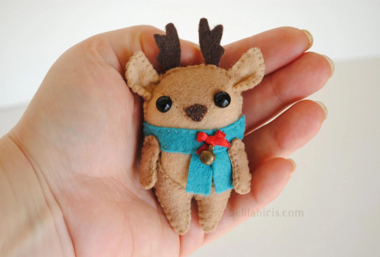 Reindeer Felt Ornament Pattern Printable Sewing Pattern Cute