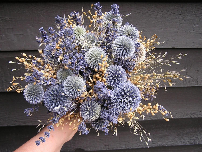 Rustic Dried Light Blue Wedding Bouquet Bridal Dried Flowers