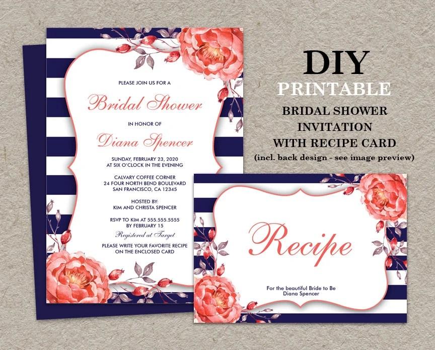 Bridal Shower Invitations Recipe Cards Wording