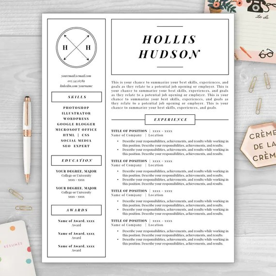 Monogram Resume Template, Professional Resume, Free Resume Template, Resume Design, Resume Template Word, Resume Cover Letter, Resume