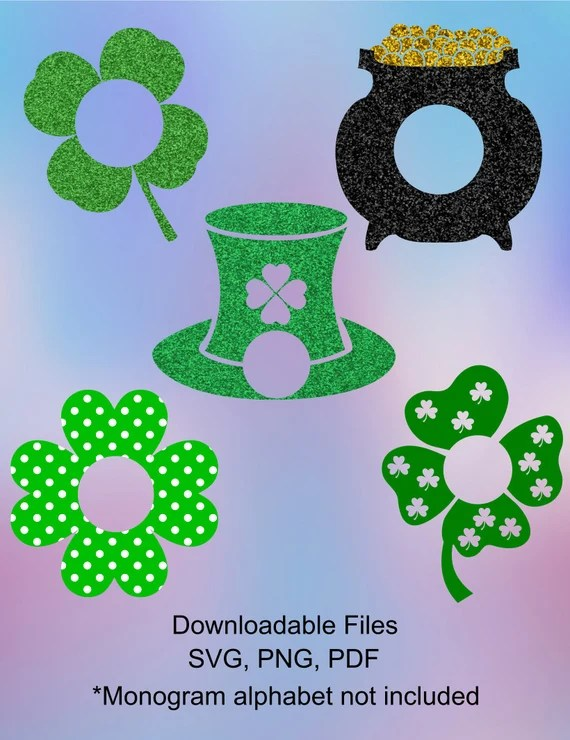 Download St Patrick's Day Monogram Frames. SVG, DXF cutting files ...