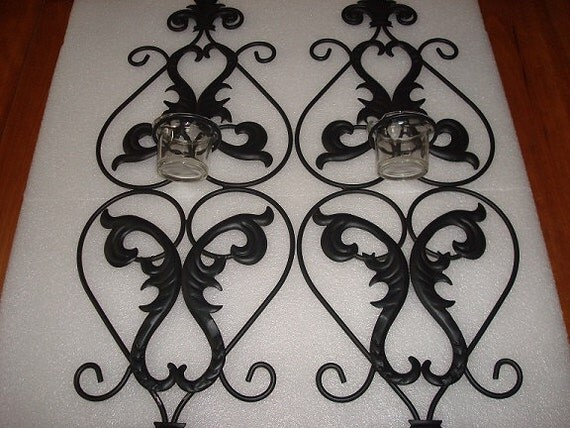 Set of Two Black Wrought Iron Candle Holders Wall Hangings on Black Wrought Iron Wall Candle Holders id=64139