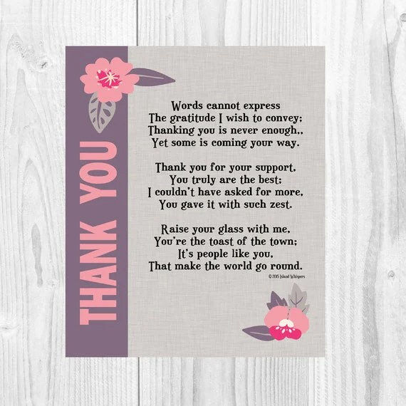 Thank You Poem Thank You Card Thank You Printable Thank You