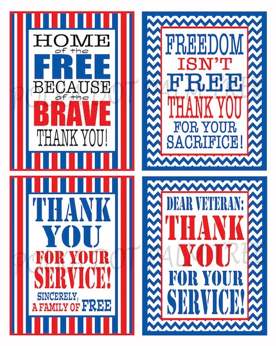 INSTANT DOWNLOAD Printable Veteran Military Patriotic Thank