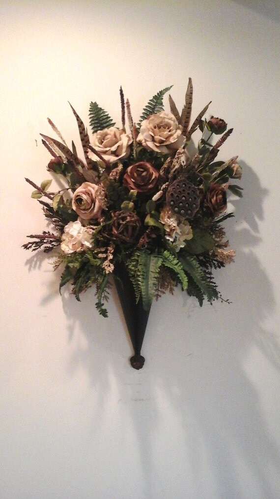 Floral Wall Sconce Wall Pocket Wall by GiftsByWhatABeautifu on Wall Sconce Floral Arrangements Arrangement id=41795