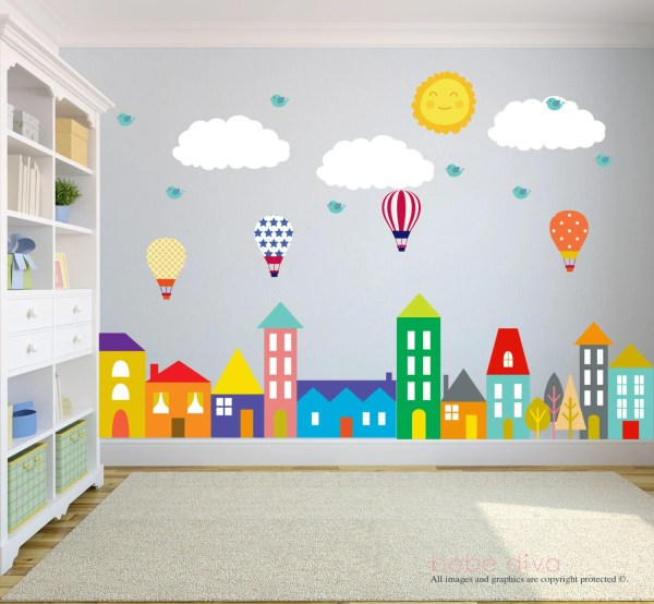 kids bedroom sticker wall murals City Wall Decals Wall Decals Nursery Baby Wall Decal Kids