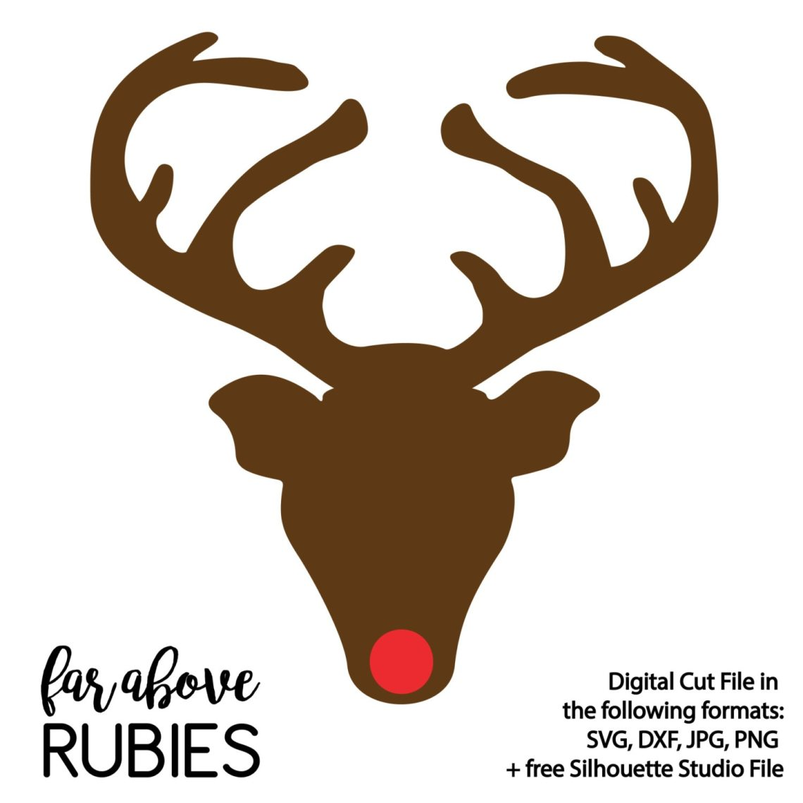 Download Red Nosed Reindeer Silhouette with Antlers SVG & DXF ...