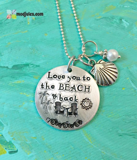 Download Beach Necklace Love you to the Beach & Back Beach by ModJules