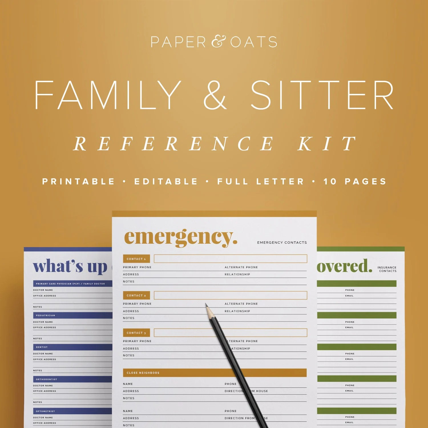 Family Amp Babysitter Reference Kit Editable Emergency
