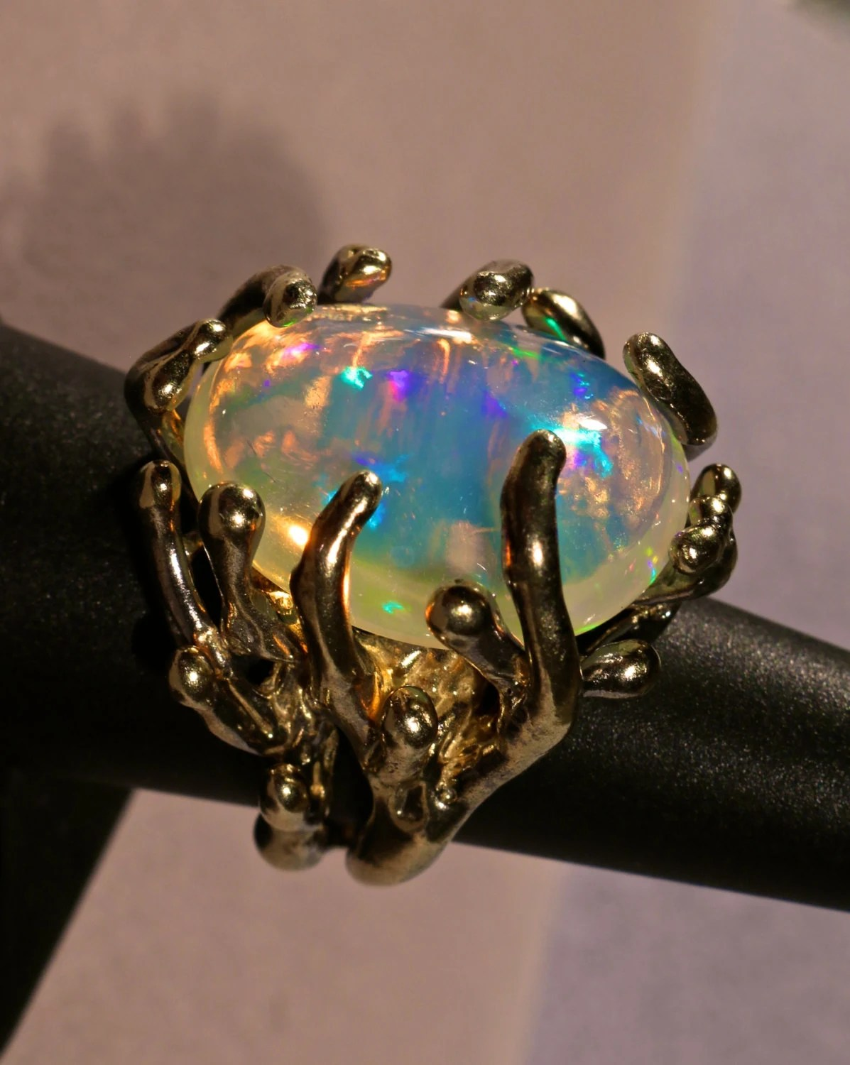 GIANT Opal Ring Spectacular Natural Solid Ethiopian Opal