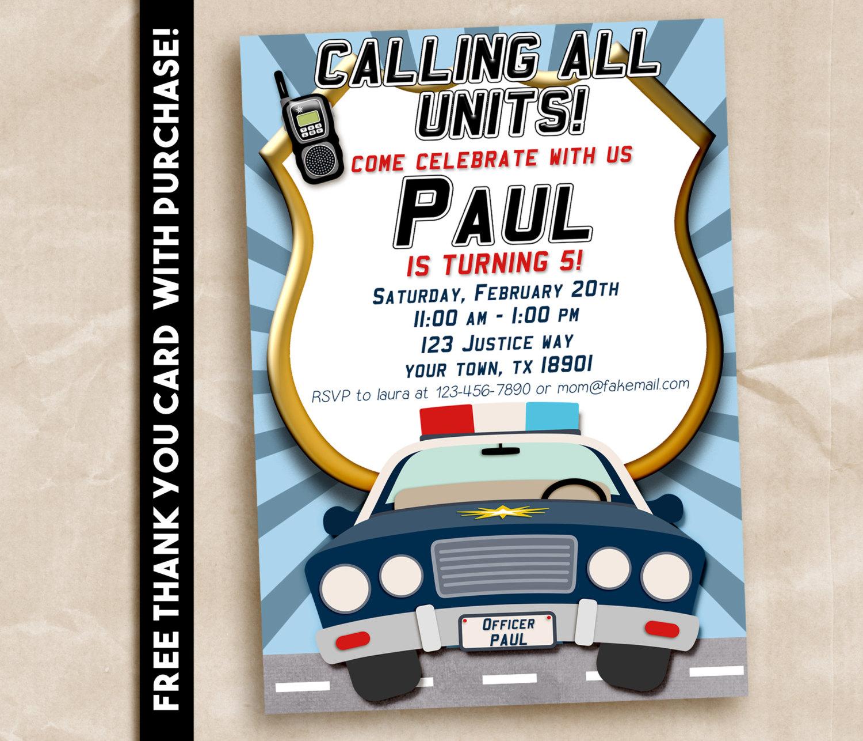 Police Birthday Party Invitation Printable Digital 5x7 Free