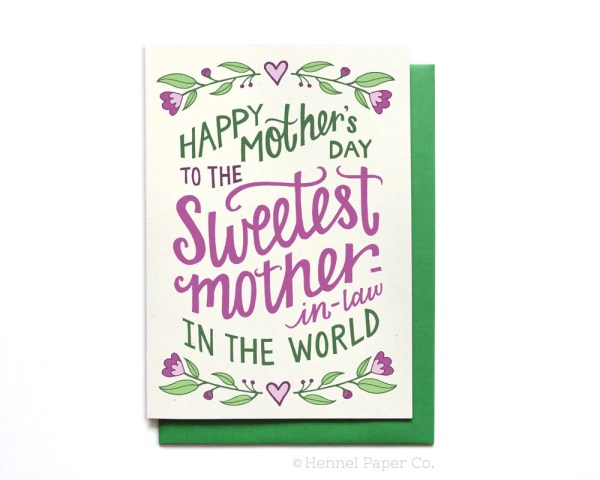 Mother-in-law Mothers Day Card floral Sweetest Mother-in-law