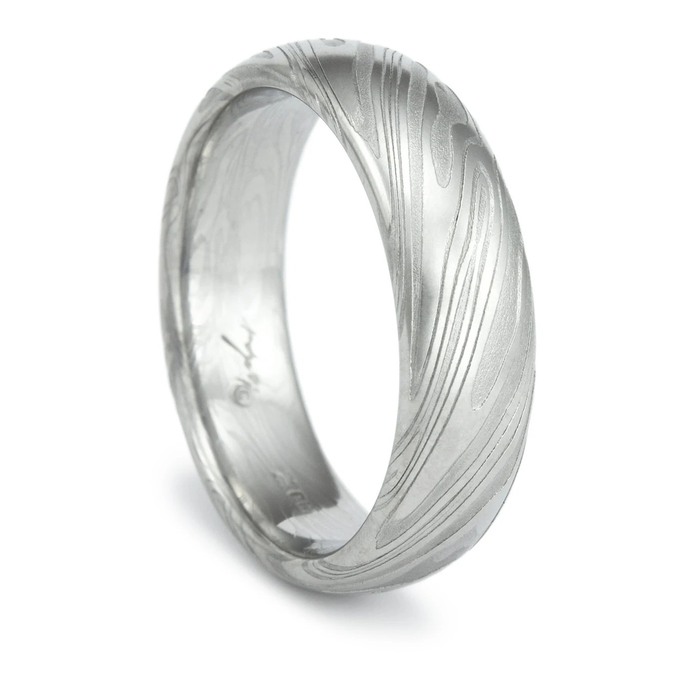 Damascus Steel Ring Unique Mens Wedding Band Twisted Wood