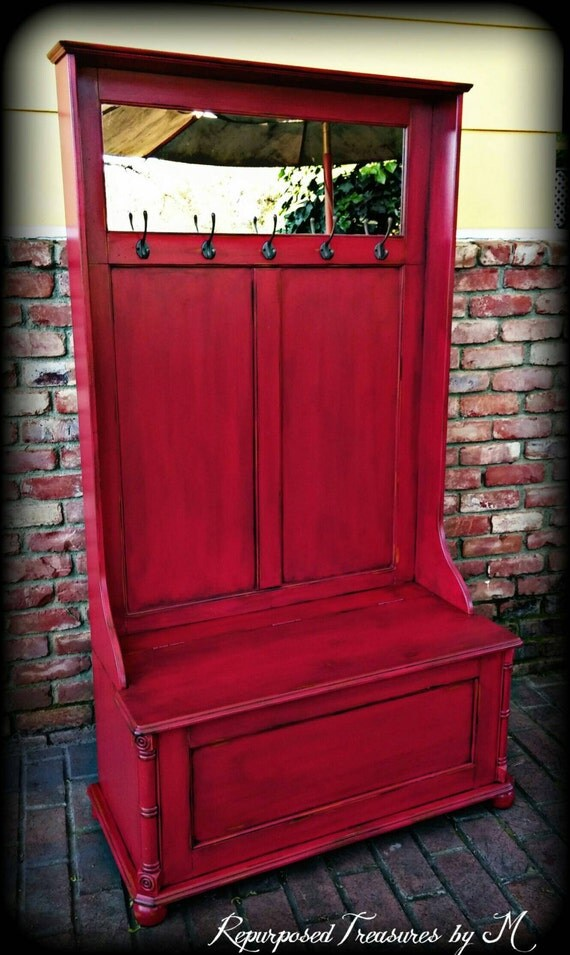 Hall Tree Bench Entryway Bench Shabby Chic Bench By