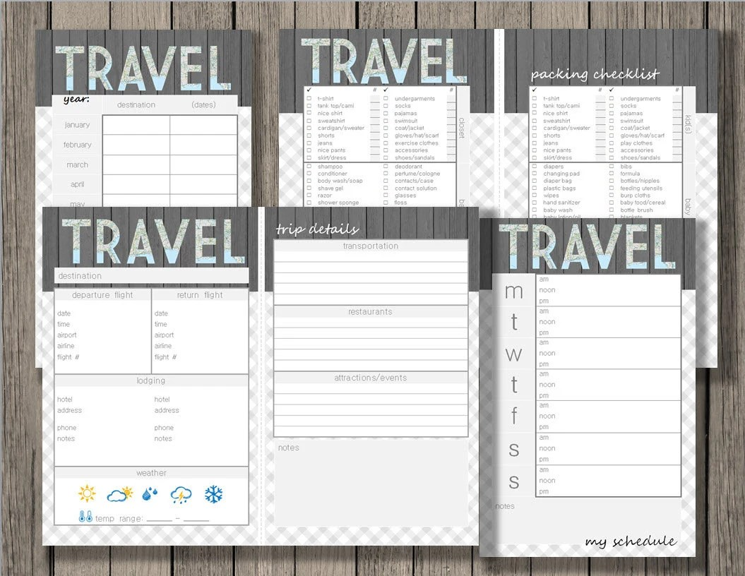 Travel Printable Vacation Planner Yearly Trip Planner