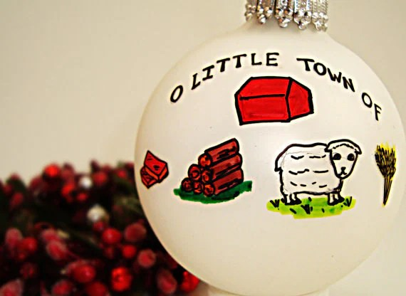 O Little Town of Brick, Wood, Sheep, & Wheat- Hand-drawn Glass Ball Holiday Ornament