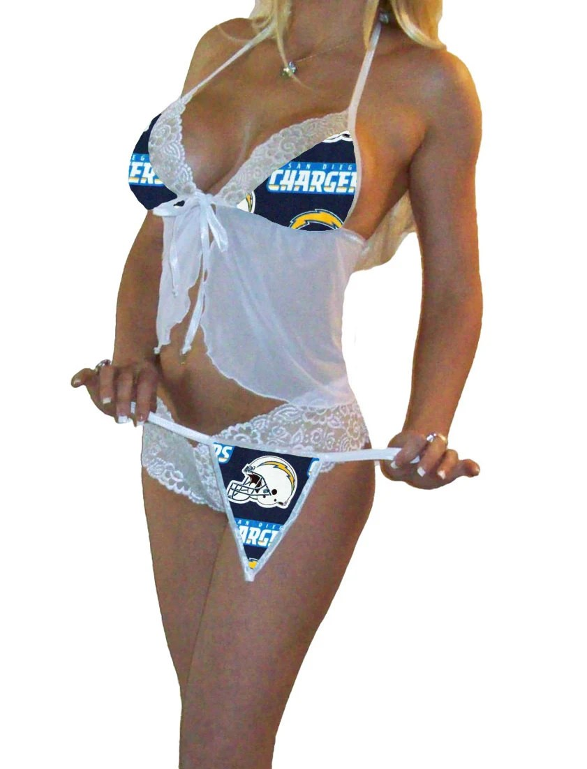 NFL Lingerie San Diego Chargers Sexy White Cami Top And Lace