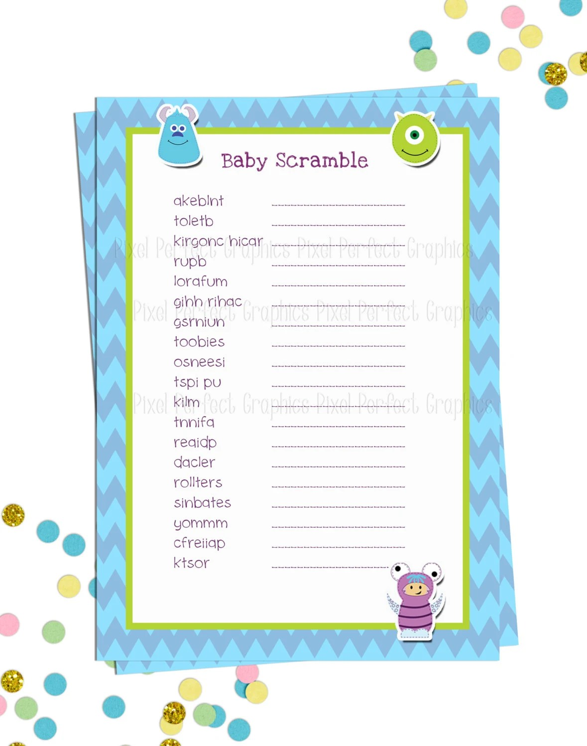 Monsters Inc Themed Baby Shower Baby Scramble Game Printable