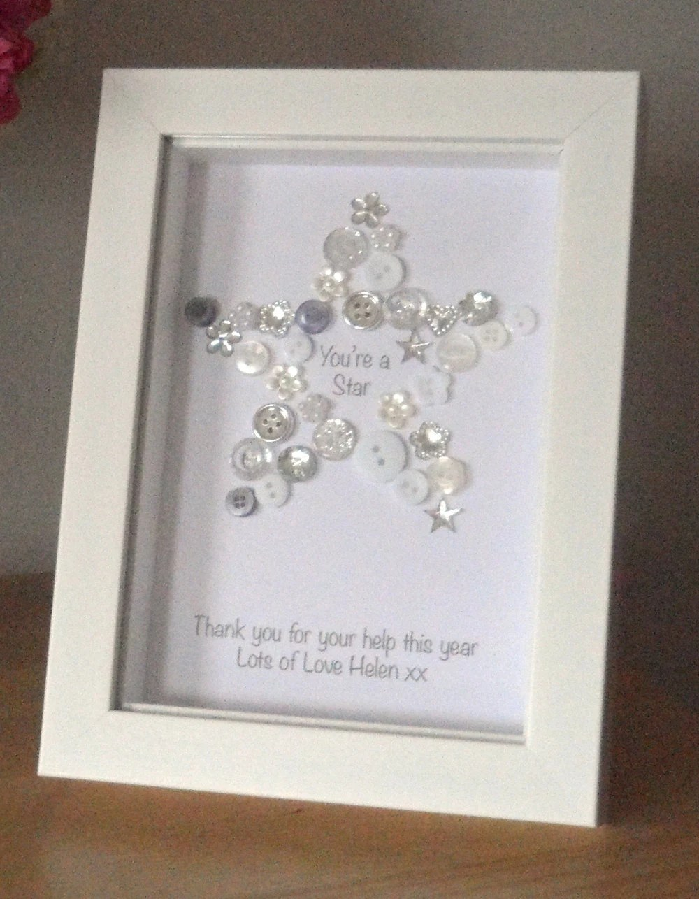 Youre A Star Button Picture Print Personalised Thank