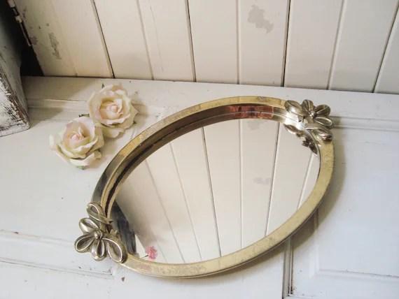 Oval Metal Vanity Mirror Tray Ornate Mirror Distressed