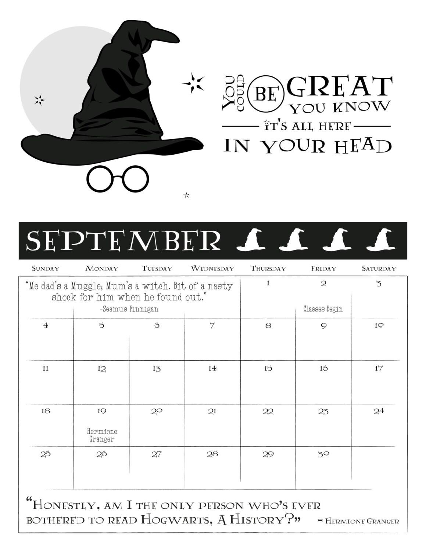 Harry Potter Inspired Calendar 8 5x11