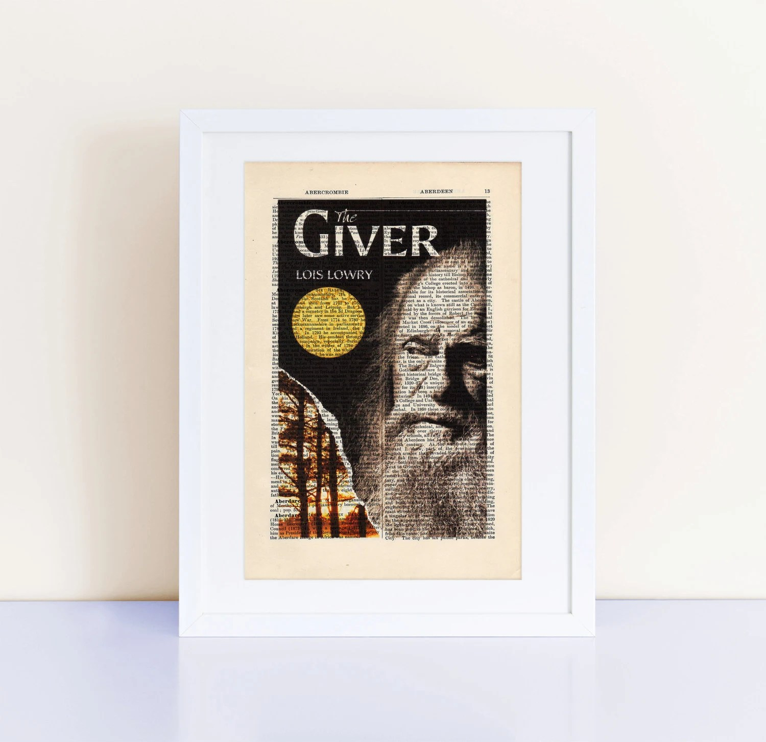 The Giver By Lois Lowry Print On An Antique Page Book Cover