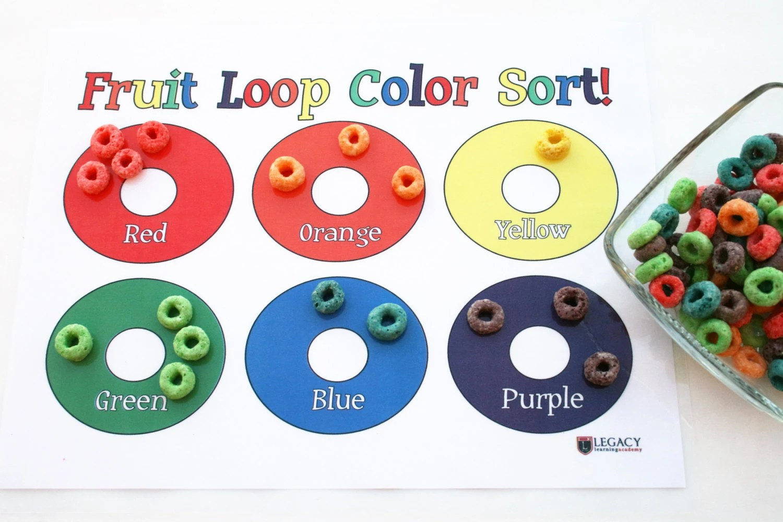 Fruit Loop Laminated Placemat Fruit Loops Color Sorting Game