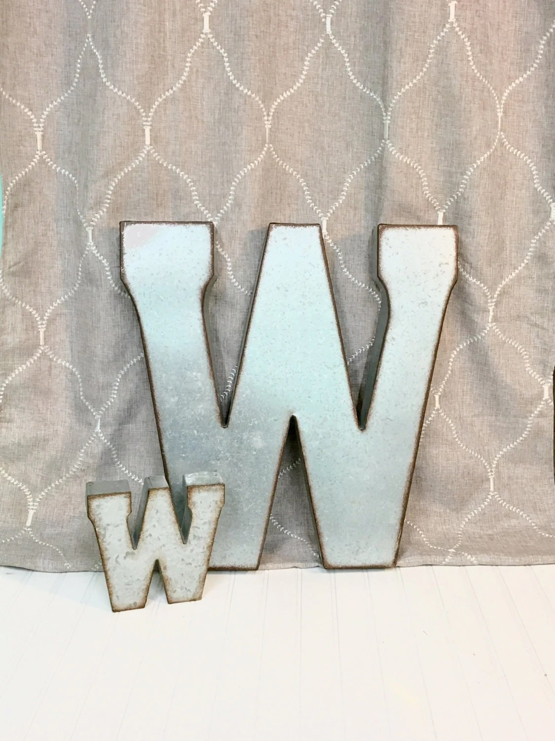 Large Metal Letter Letter W Galvanized Metal Wall Letter Large