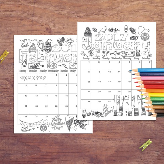 2017 Coloring Calendar, Coloring pages, Instant digital download. DIY printable coloring pages, Coloring Book, printable coloring calendar