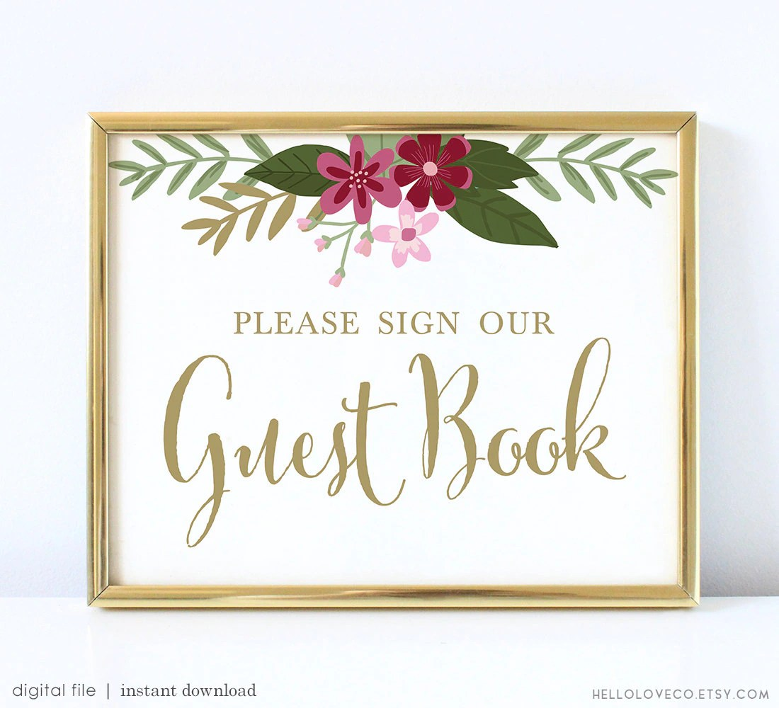 Printable Guest Book Sign Printable Wedding Guest Book Sign