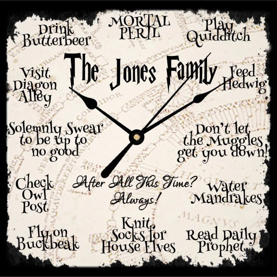 Personalised Harry Potter Quote Working Clock - 30+ Harry Potter Gift Ideas for the Harry Potter Lover in your life. This gift guide includes clothing, home decor, food and anything else Harry Potter! thekeeledeal.com