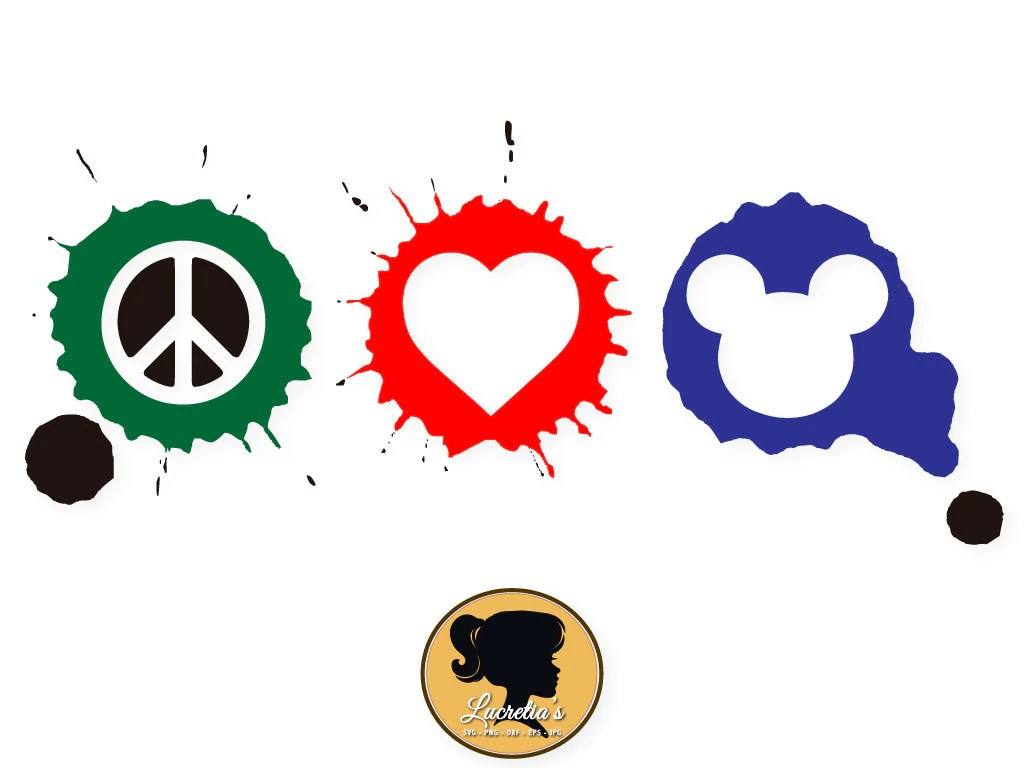 Download Mickey Peace Love SVG, Peace Love Silhouette, Mickey peace ...