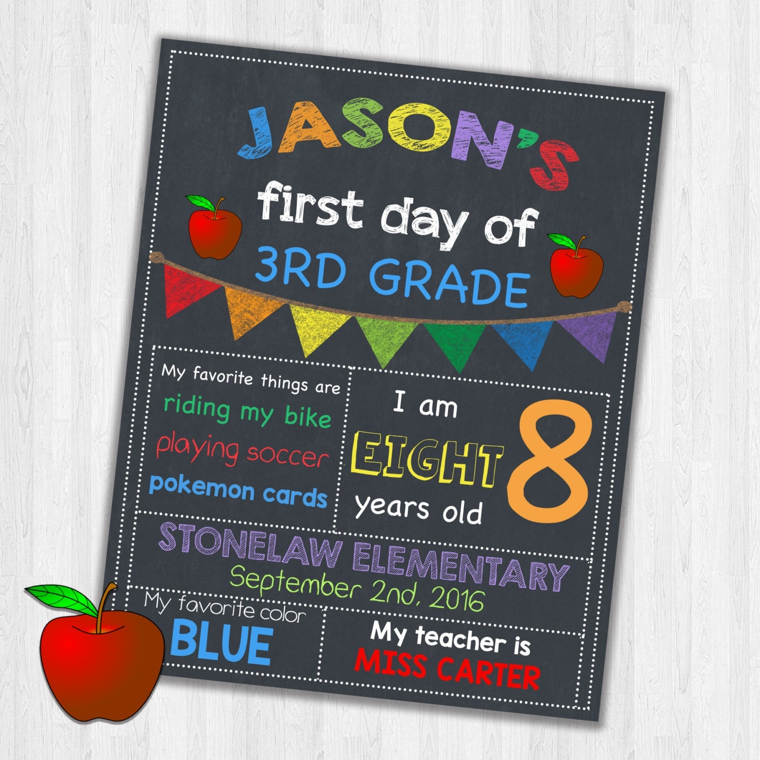 First Day Of School Sign Chalkboard Printable Third Grade