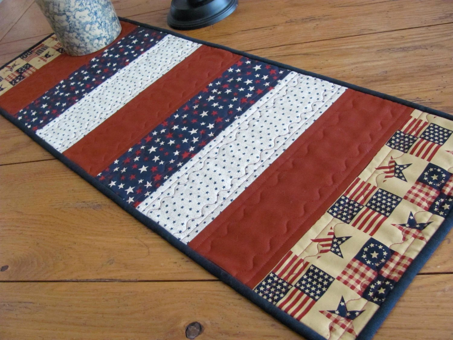 Quilted Table Runner 4th Of July Red White And Blue Tone