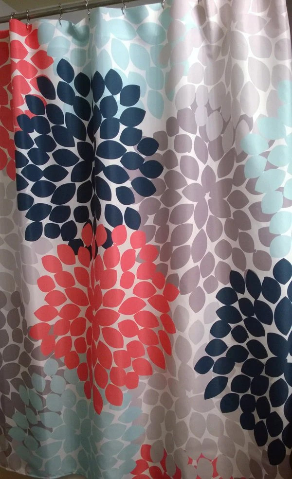 Coral And Grey Shower Curtain